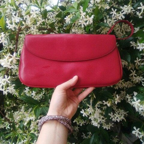 Vintage Clutch in fabulous Red Genuine Leather