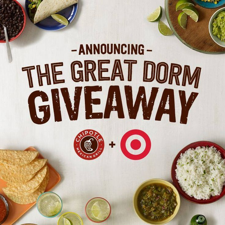Coupons Undergrads and grads, don't forget The Great Dorm Giveaway! Text DORM3 to 888222, and you could go back to school in style with a Chipotle Catering party for 100 and a $1000 Target GiftCard. http://www.pinterest.com/TakeCouponss/chipotle-coupons/