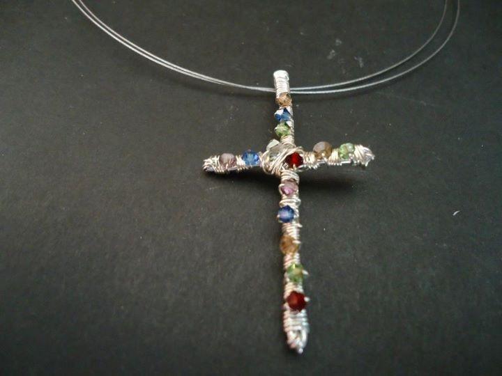 Details of the Swarovski glass bead cross