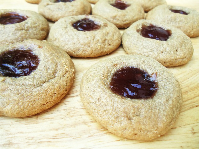 Flourless Peanut Butter and Jelly Thumbprints