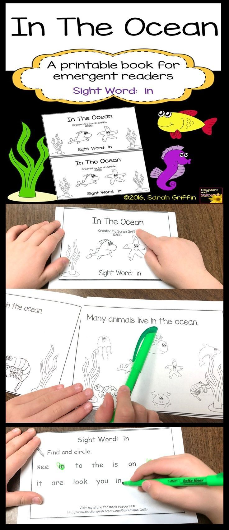 In the Ocean | Decodable book for emergent readers | predictable book | printable | sight word reader | Kindergarten | first grade