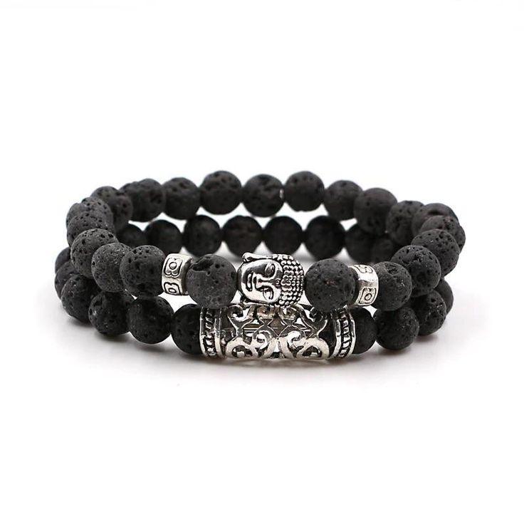 2 PC Black Lava Stone Reiki meditation Yoga Bracelet