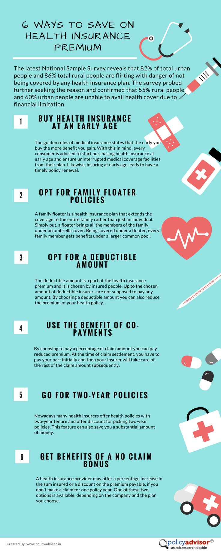 6 Ways To Save On Health Insurance Premium http://www.policyadvisor.in/general-insurance-quotes/compare-health-insurance/