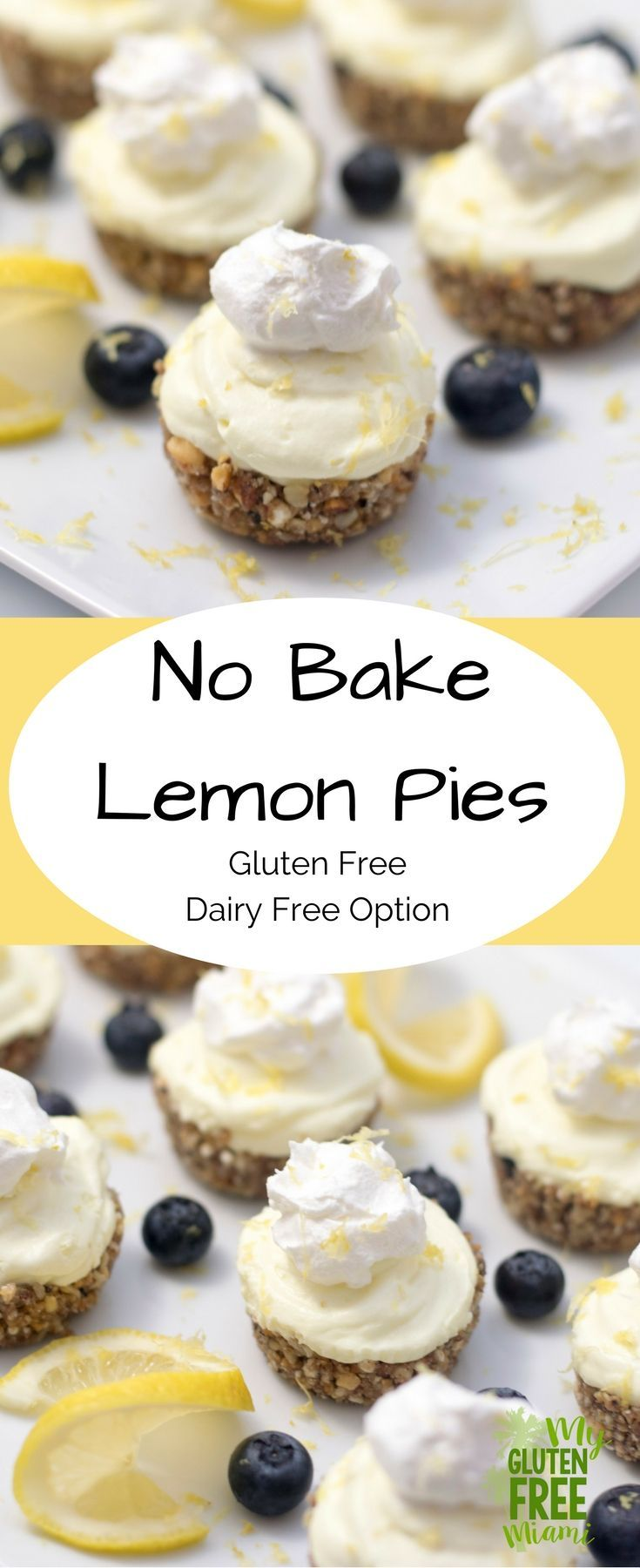 Mini no bake lemon pies are the perfect gluten free addition to your dessert repertoire. Crunchy granola crust with a luscious lemon cream. via @glutenfreemiami