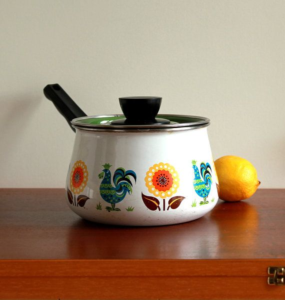 sauce pan: Sauces Pan, Lids Sauces, Kitchens Stuff, Pan 1970 S, People Design, Vintage Enamels, Pan 1970S, Enamels Lids, Sauce Pan