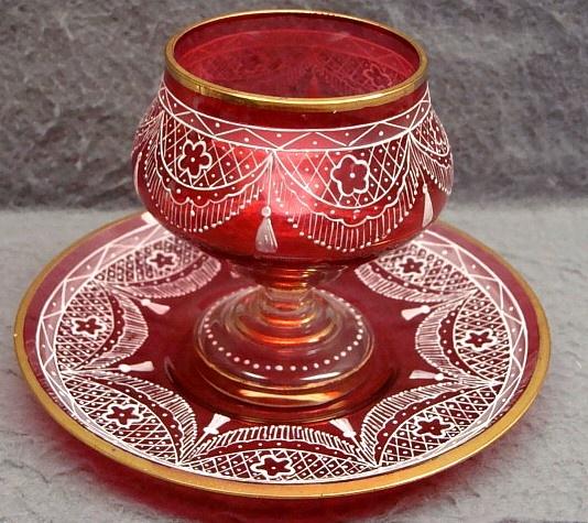 Antique Bohemian Moser Cranberry Glass & Enamel Lace Dessert Cup & Saucer