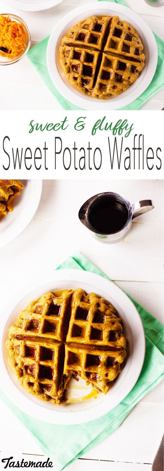 These guilt-free waffles offer a sweetness of their own so you won't miss all that syrup! No refined sugars or flours makes this breakfast a healthier choice
