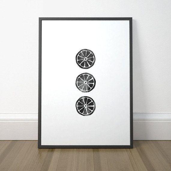 Black and White Kitchen Print Lemon Print Printable Kitchen