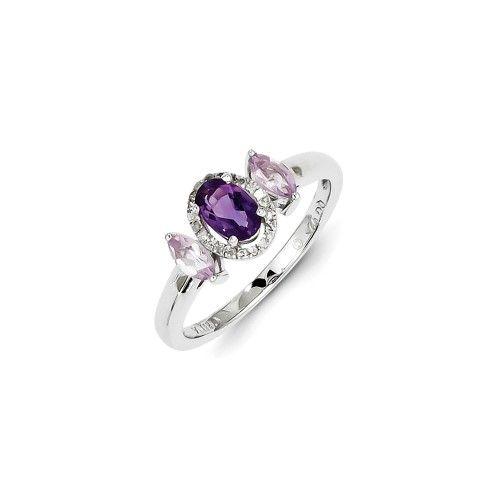 Sterling Silver Rose de France Pink Quartz Diamond Ring, Women's, Size: 7