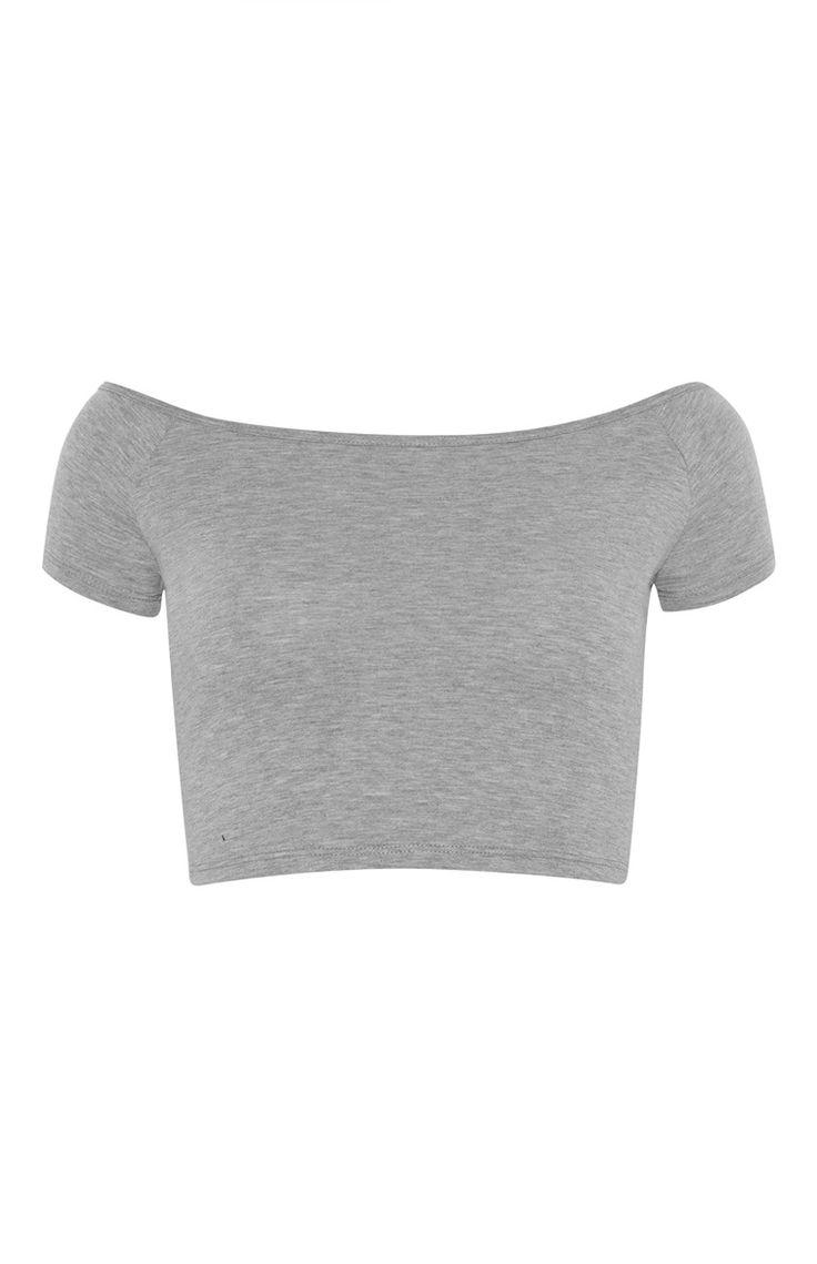Grey Bardot Crop Top