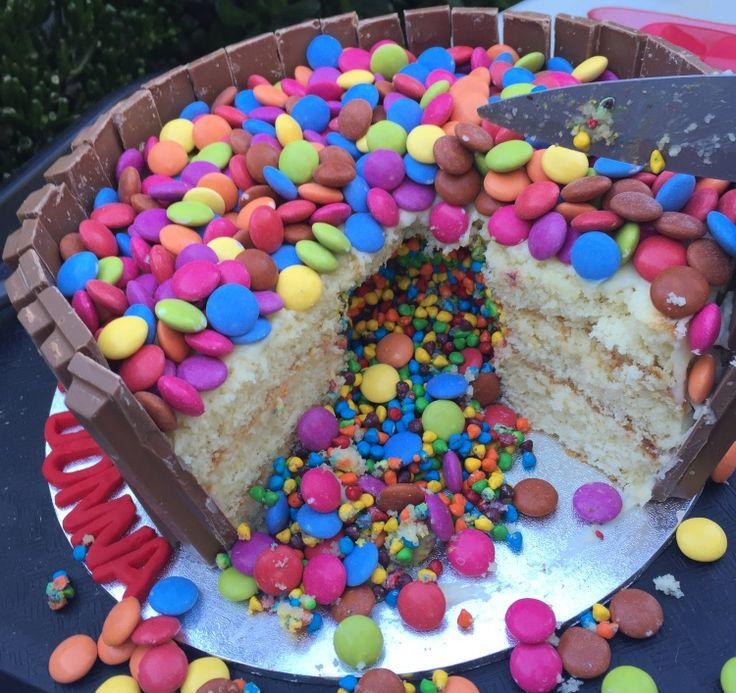 inside Smarties surprise Cake