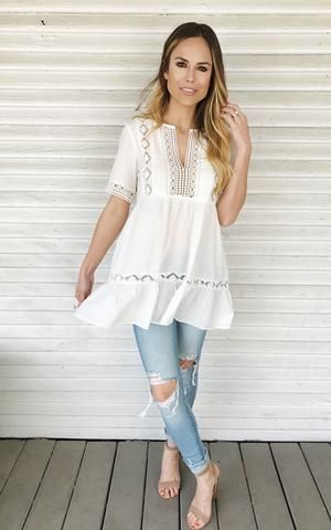 Bex-Off White. White tunic. Light spring top. Casual or dressy top with jeans.