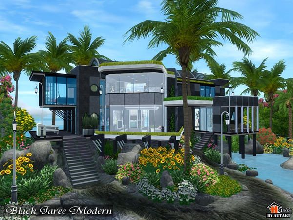 Black Jaree Modern house by Autaki - Sims 3 Downloads CC Caboodle