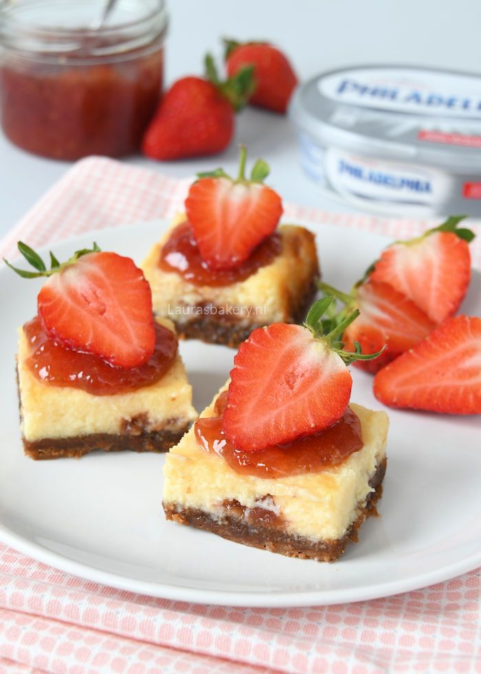 Philadelphia aardbeien cheesecake repen | Laura's Bakery | Bloglovin'