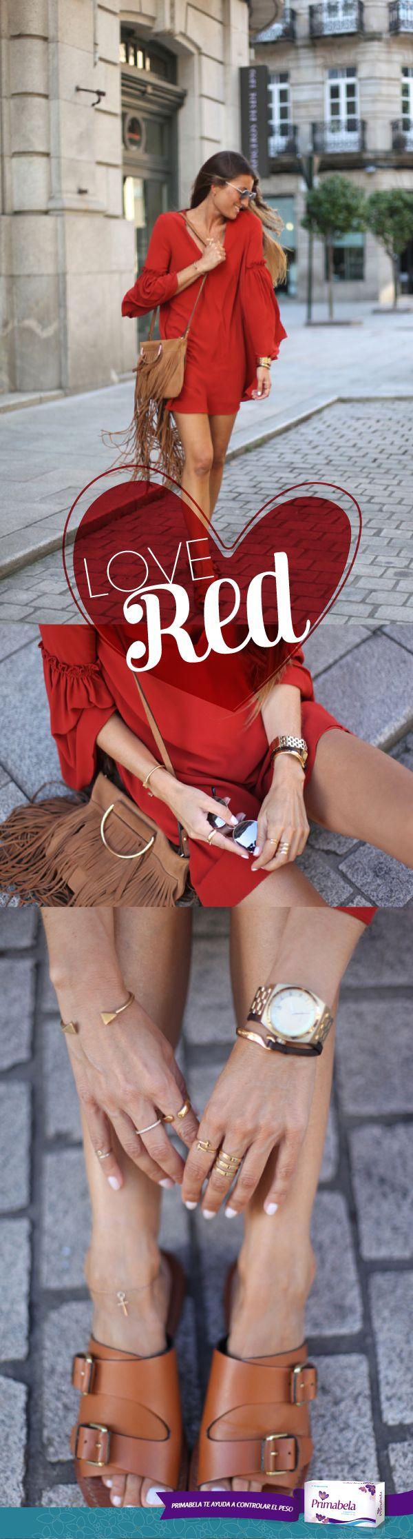 Combinalo con café y joyas doradas, deslumbrarás con tu outfit. #LoveRed #Rojo #Color #Joyeria #In #Primabela