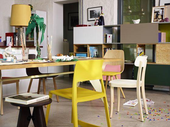 Vitra Tip Ton Chair, Tabouret Solvay Prouvé, Basel Chair, EM Table Prouvé