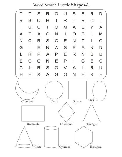 Find the words in the Shapes 1 wordsearch puzzle. Select your favorite puzzle then print the sheet. There are atleast 10 words in the puzzle.