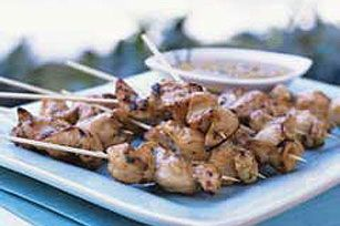 Sizzlin' Chicken Skewers recipe...pictures do not do it justice - this is a hit to every BBQ/pot luck we go to.  And also dinner tonight. :) (just be sure to use La Choy and a gf BBQ sauce)