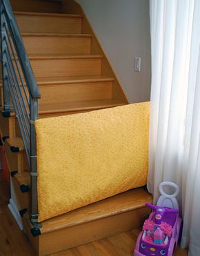 Here's how to make a fabric safety gate for baby and toddlers for the bottom of stairs or between doorways. This DIY fabric baby safety gate has given me a lot of piece of mind these past months. We tried store-bought safety gates at the bottom of our stairs but couldn't figure out how to work