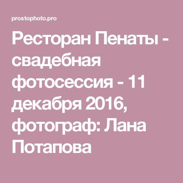 Ресторан Пенаты - свадебная фотосессия - 11 декабря 2016, фотограф: Лана Потапова