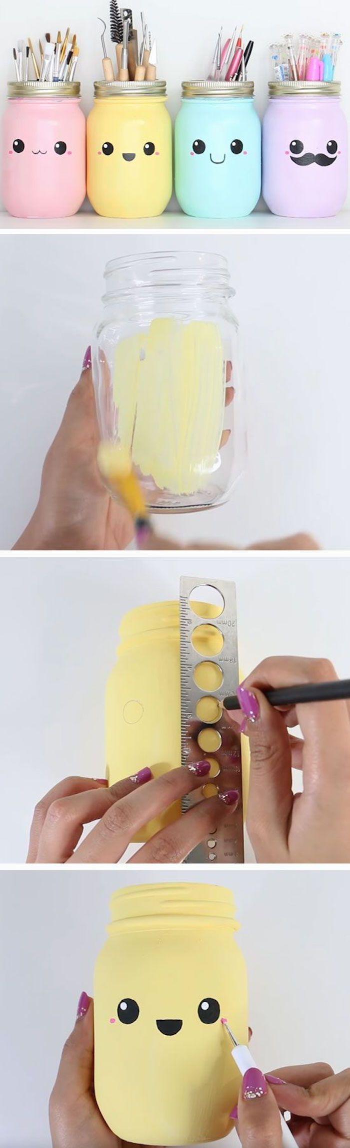 DIY, bunte Gläser mit Gesichtern für Kugelschreiber, Bleistifte und Pinsel