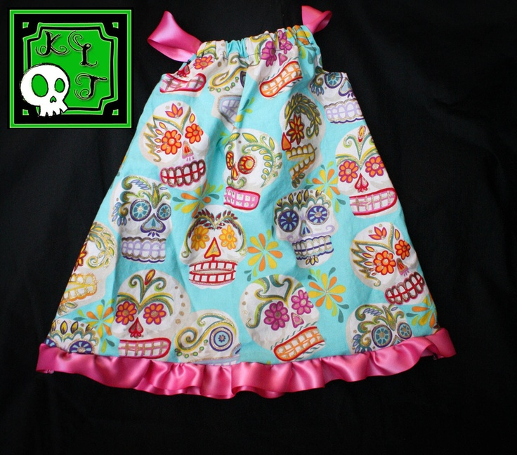 Sugar skull pillowcase dress by KLTboutique