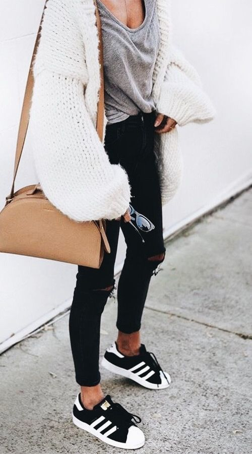 white sweater, gray tee, black jeans, Adidas sneakers, nude bag.  Street style, street fashion, best street style, OOTD, OOTD Inspo, street style stalking, outfit ideas, what to wear now, Fashion Bloggers, Style, Seasonal Style, Outfit Inspiration, Trends, Looks, Outfits.