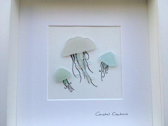 Sea Glass Art Jellyfish Jellyfish Wall Art Etsy Sea Glass Art Diy Sea Glass Art Projects Glass Art Pictures