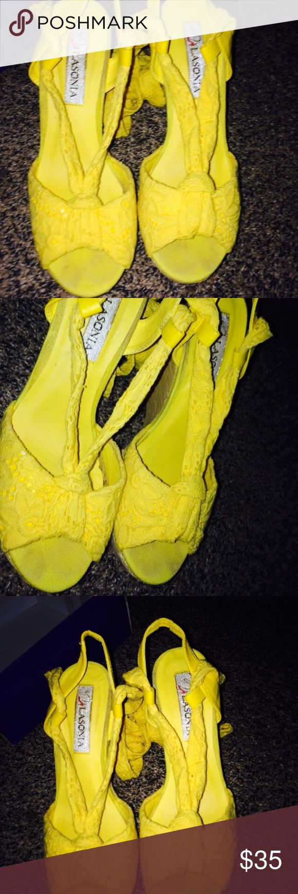 Yellow wedges Great condition Shoes Wedges