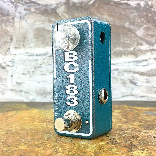 The BC183 mini booster is a warm, fat, characterful boost with a full yet focused low-mid emphasis. This boost is perfect for adding some thick punch to single coils or a little extra chunk to humbuckers. Given its streamlined circuit design the BC183 mini booster is highly responsive to volume and tone adjustments allowing the core tonality of your instrument and the nuance of your playing to shine through. The BC183 mini booster can be used stand alone or stacked in conjunction with other…