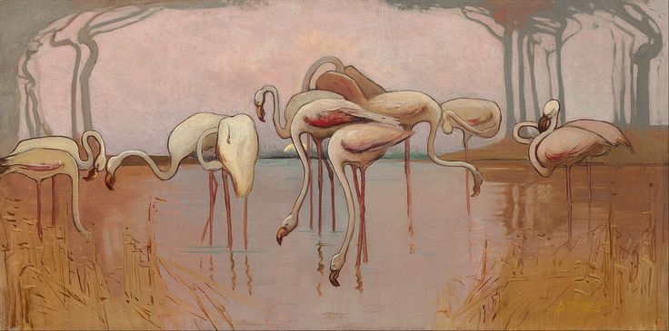 Sydney Long - Flamingoes, c. 1907, National Gallery of Australia, Canberra