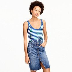 Striped tank top with sequin palm leaves :   | J.Crew