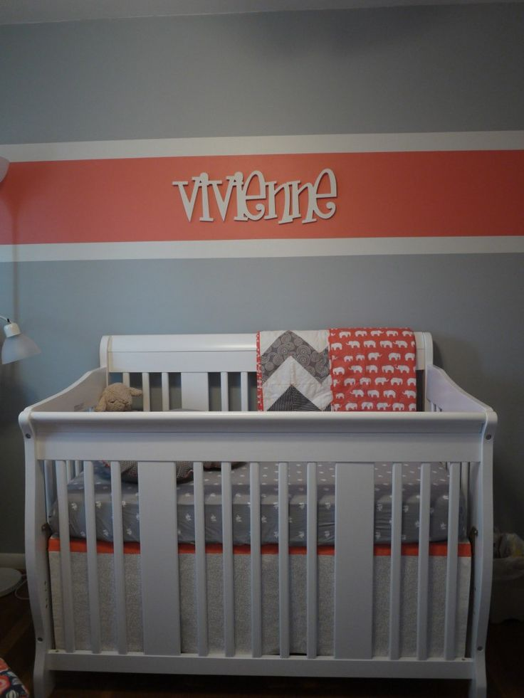Coral and gray - love this color scheme for a #babygirl nursery!