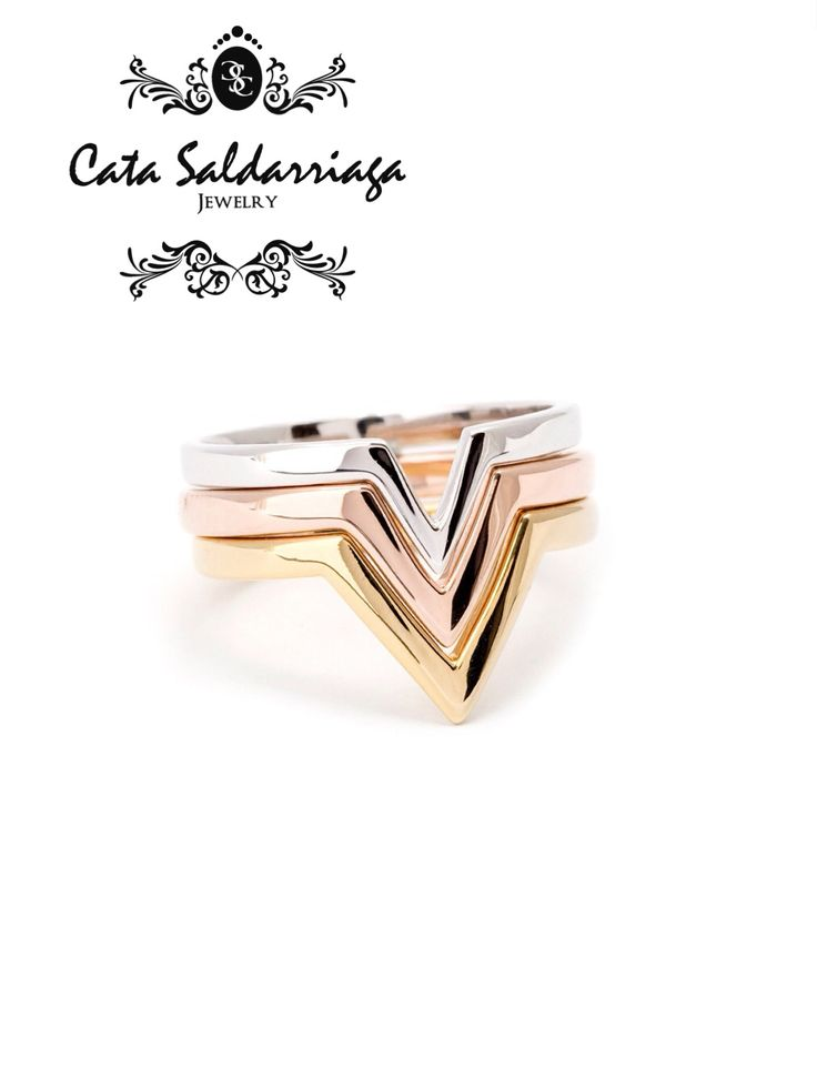 Stacking Rings 18k White Rose and Yellow Gold. Set of three Rings by Cata Saldarriaga Jewelry.