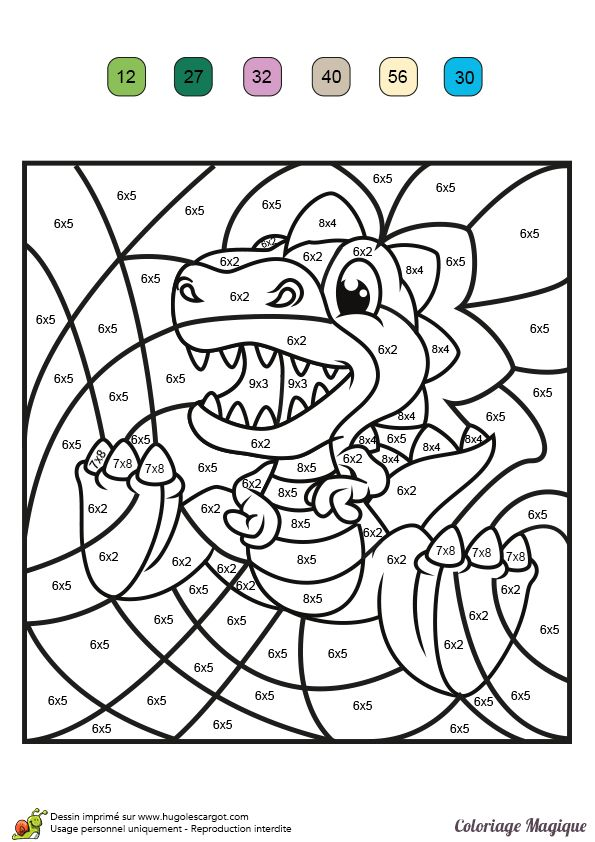 Dessin à colorier magique multiplication, un Tyranosaure Rex - Hugolescargot.com