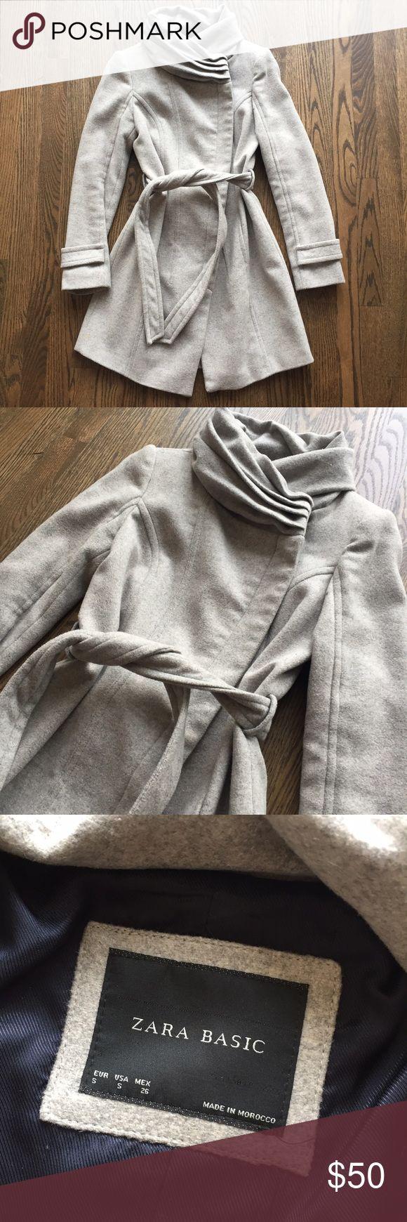 Grey Zara winter coat size Small Perfect condition! Barely worn. Size small, grey, wool, winter coat. Ties at the waist. Navy silk lining. Zara Jackets & Coats