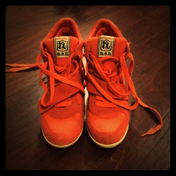 ASH Bowie Wedge Sneakers Awesome pair of sneaker wedges in orange suede. Some minor discoloration (please see photos) but in otherwise great condition. Ash Shoes Wedges