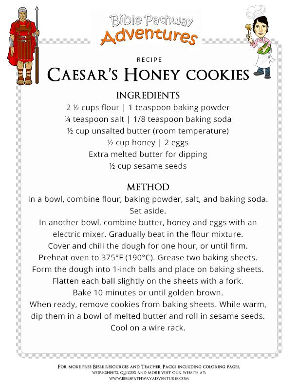 Bible Recipe for Kids: Caesar's Honey Cookies