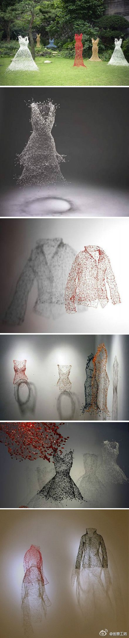 [clothes of life] outh korean artist keysook geum just completed with wire vivid and light evening sculpture series. bubble general suspension. the master of the invisible clothes, but these clothes seemed to be alive.