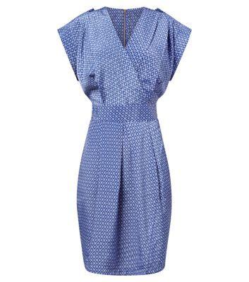 Closet Blue Retro Tile Print Tie Back Dress