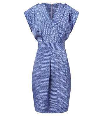 Closet Blue Retro Tile Print Tie Back Dress