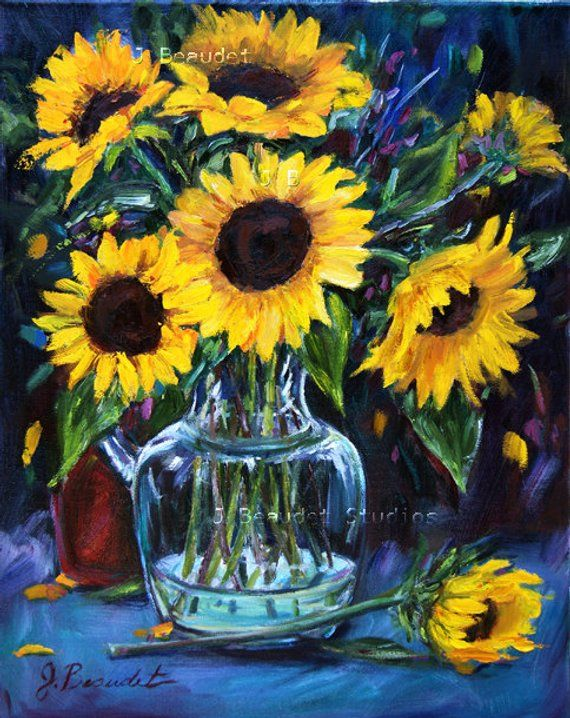 11x14 inch original sunflower landscapes painting on canvas