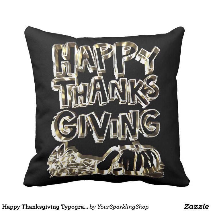 Happy Thanksgiving Typography Gold Harvest Pumpkin