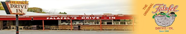 Welcome to Falafel Drive in  Featured on Diners Drive in and Dives. I go sometimes just for the banana shake....