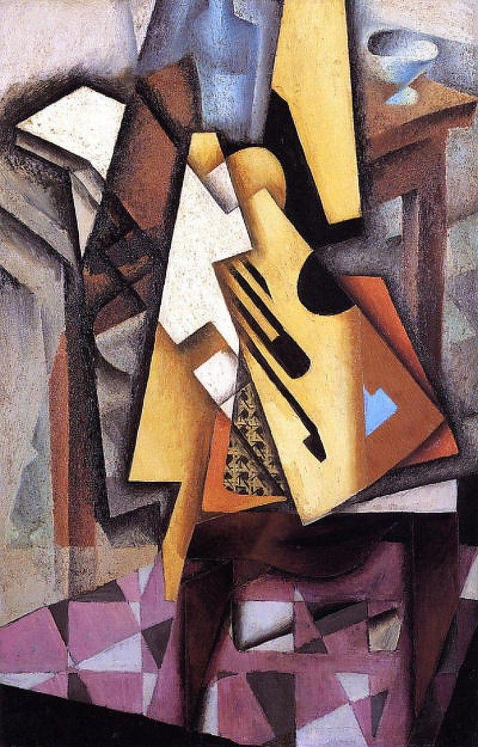 Juan Gris, Gitaar op een stoel, 1913, olieverf op doek, 100 x 65 cm, privécollectie