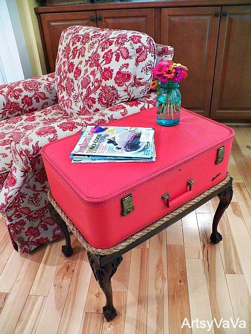 Make a rope trimmed vintage suitcase side table! By Artsy Va Va featured on I Love That Junk