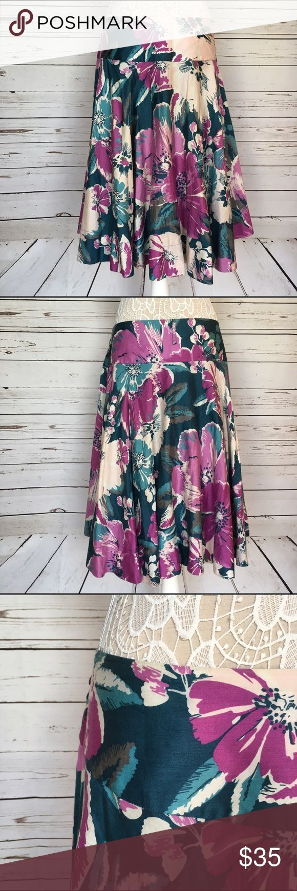 🎉Host Pick!🎉 Monsoon Skirt 🎉Host Pick!🎉 Gorgeous circle skirt from UK brand Monsoon. This full, knee-length skirt is 100% cotton with a vibrant teal and magenta floral print. Fully lined with a teal cotton petticoat. Flattering wide waistband and fabric belt loops. Size is a UK 20, which is equivalent to a US 16. Excellent used condition. Fast shipping. Monsoon Skirts A-Line or Full