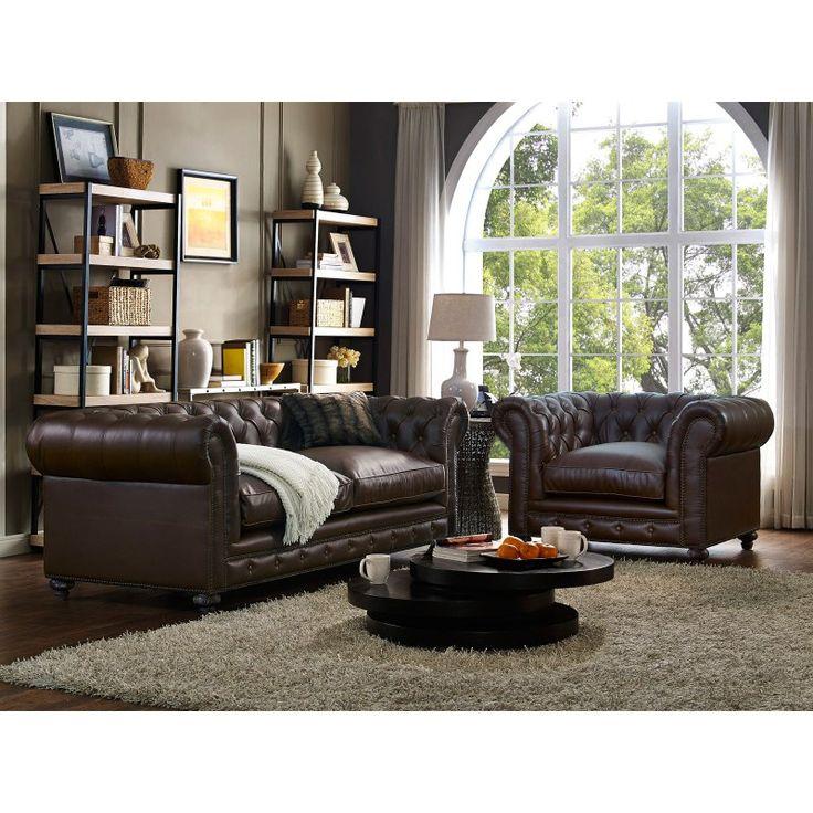 TOV Furniture Durango Leather Living Room Set - Antique Brown - TOV-S115-C54