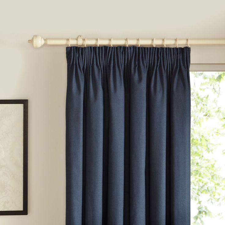 Prestige Denim Plain Pencil Pleat Lined Curtains (W)167 Cm (L)167 Cm