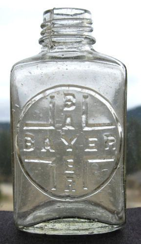 Antique BAYER ASPIRIN bottle first style bottle used by plowgirl, $35.00